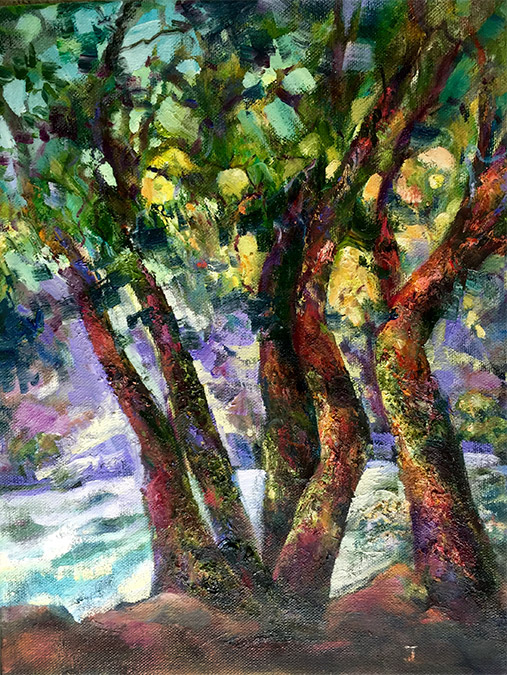 Riverside Trees, painting by Joan Pechanec. Original oil painting of trees on a river bank by artist Joan Pechanec Riverside Trees Oil on Canvas 11x14 unframed 16x19 framed $275 A stylized version of the trees on the riverbank outside my studio.