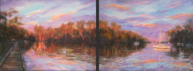 Image of an oil painting of a cove on the gulf coast at sunset by artist Joan Pechanec. Diptych: Sunset on Cove Oil on Gallery-wrapped Canvas 2 paintings, each 11x14 $550 for both We saw this stunning evening scene on a cove in Josephine, Alabama. The boat and groves of trees were lit up in the neon evening light.