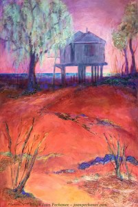House on the Bay, 24 x 36 Mixed Media painting by Joan Pechanec. Not For Sale.
