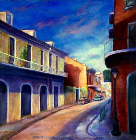 Morning in New Orleans, Original Oil Painting by Joan Pechanec, 24 x 24, (1 1/2 gallery wrapped canvas) $400 I saw this scene when I got up early on a visit to New Orleans. The streets were clear, no crowds of tourists or traffic. It had rained the night before and there was still water in the gutters. The beautiful old buildings, rich with their European architecture and embellishments, were stunning in the fresh morning light!