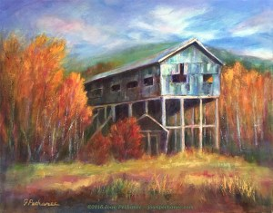 """Old Mine Building, Original Oil Painting by Joan Pechanec, 16"""" X 20"""" unframed 22"""" x 26"""" framed $375 I saw this abandoned mine building in the middle of aspen groves in the Canadian Rockies. I was drawn to the weathered blue-grey wood of the old structure tucked in between the intense yellow, red, and orange tones of the trees. It must have once been a thriving operation."""