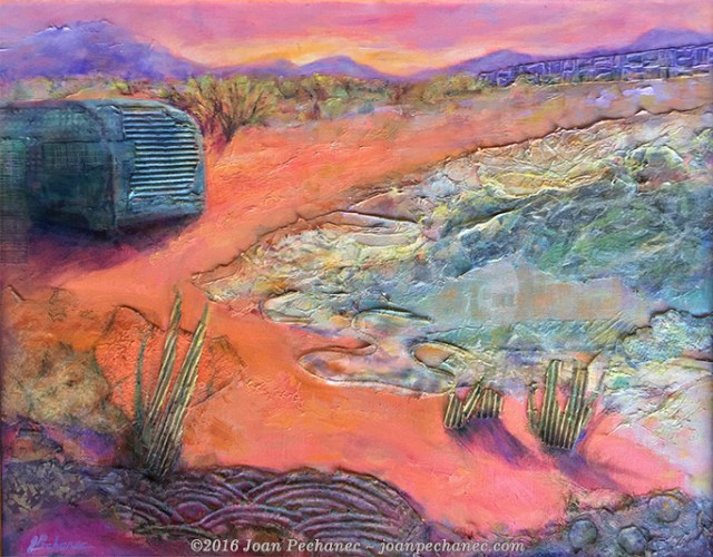 """Salton Sea Desert, Mixed Media by Joan Pechanec 20"""" x 16"""" $375 This is a mixed media piece chosen for the juried show """"Between the Covers"""", art inspired by books, at the Siskiyou Arts Museum in Dunsmuir, California. This is an interpretation of a scene in the thriller """"Desert Angel"""" where a girl is running through the desert to escape her mother's killer. I painted the landscape in a surrealistic fashion reflecting Angel's intense and dazed state of mind. Artistically I was interested in the patterns and dimensional texture of the scene. (Charlie Price is an Edgar award-winning novelist and my husband.)"""
