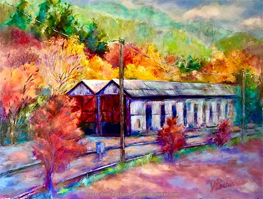 "Autumn in Dunsmuir, 16"" x 12"" painting of an old railroad station surrounded by trees in fall color in Dunsmuir, California, by Joan Pechanec. Oil $300 Includes Frame"
