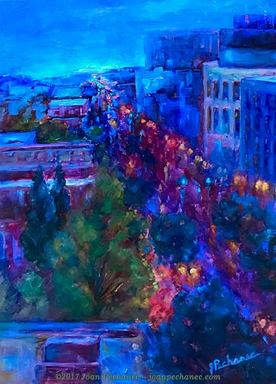 "Goodnight Portland, Oil Image Size: 16"" x 12"" $375 Includes Frame ""Goodnight Portland"" shows a scene from our hotel room on a rainy Portland night. Such a magical city!"