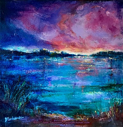 Horizon Lights Mixed Media (Oil, Cold Wax) Image Size: 12 x 12 Gallery Wrapped Canvas $175