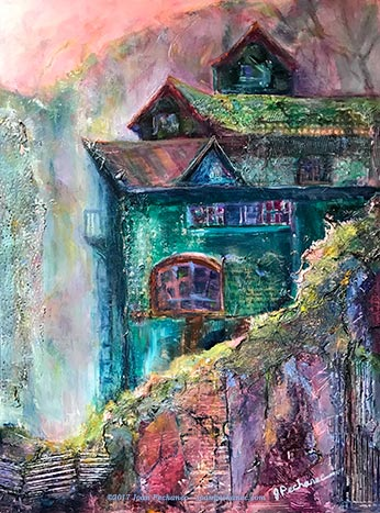 "Refuge (Sanctuary Series)  Mixed Media (A very heavily textured mixture of collage, oil, acrylic, metallics, cold wax) Image Size: 11"" x 14"" $350   Includes Frame  My mixed-media painting, ""Refuge,"" is an image of a monastery-like retreat high in the Asian mountains, somewhere in Bhutan or Tibet.  ""Refuge"" comes in a custom silvered leaf-patterned frame.  This painting is included in my <em>Sanctuary</em> series. This series was generated by a call to escape everyday reality into another realm. Each image represents a different form of transcendence or detachment."