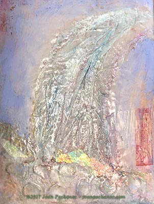 Waterfall in Sunlight 12 x 9 Encaustic with Mixed Media (collage, oil, cold wax) by Joan Pechanec $225 Includes Frame