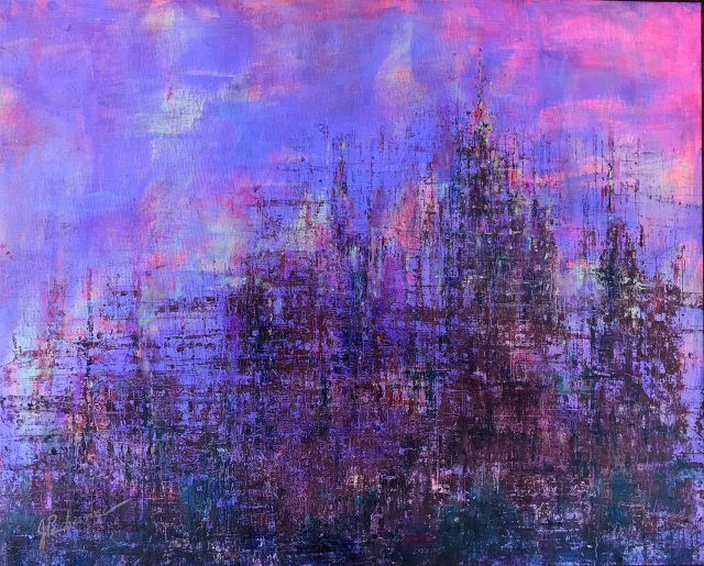 Emerging City: 16 x 20 mixed media painting by Joan Pechanec of a nighttime cityscape in violet hues