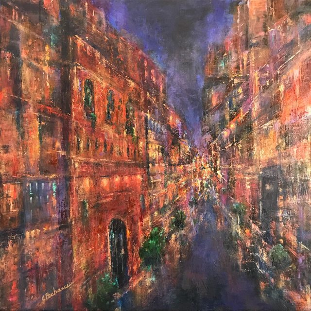 City Night: M18 x 18 mixed media painting of a night time cityscape by Joan Pechanec