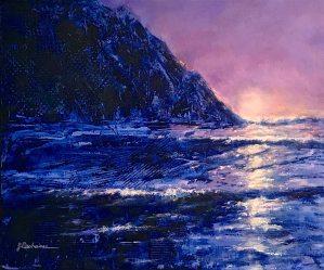 Daybreak ~ oil, cold wax ~ 16 x 20 Unfraned ~ 19 x 23 Framed ~ $390