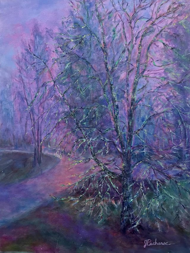 Ghost Tree, 16 x 20 original painting in mexed media (oil, cold wax) of a tree at dawn in lavender and mauve hues by Joan Pechanec