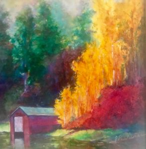 Resting Boat: Original oil painting by Joan Pechanec - Image: 12 x 12 Framed: 16 x 16 Second in a pair of autumn oil paintings, this is an image of a boat shelter in the Klamath River area of Southern Oregon. Both of the pair of paintings are in wide silver frames, the cool tones of which offset the intense, hot color of the paintings.
