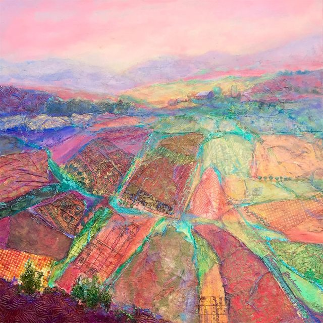 Valley Tapestry: 20 x 20 mixed media painting by Joan Pechanec depicitng multicolored agricultural fields in Oregon