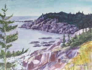 Watercolor painting of the cliffs at Western Head, Isle au Haut, Maine