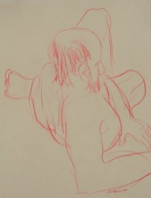Reclining, Right Shoulder, drawn with Non-Dominant Hand