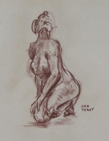 Female Gesture Kneeling, Looking Up