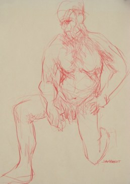 Male on One Knee, Drawn with Left Hand