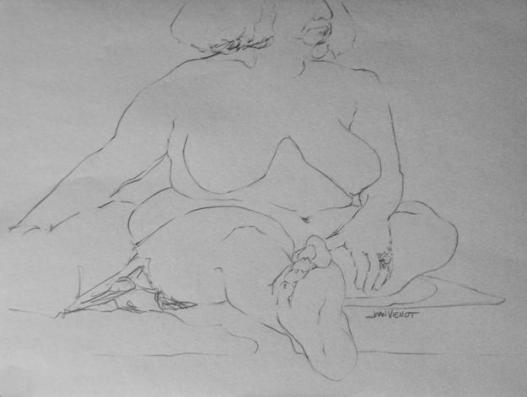 Large Woman Line Drawing with Foreshortening