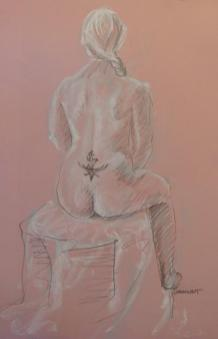 2011-0112 Braided woman with tattoo, on pink, seated