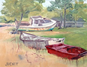 Oil Painting of Boats at Nicks Restaurant