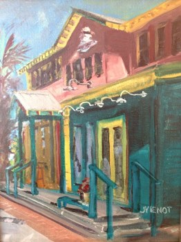 Oil painting of Shorty's Surfside in Grayton Beach, Florida