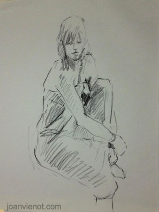 Gesture drawing, female seated in gown, holding knee up