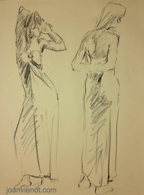 Gesture drawing, 2 gowned females, standing