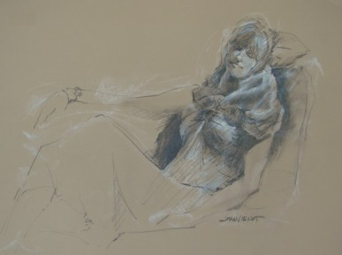 Drawing of woman in blue gown, dozing against pillows