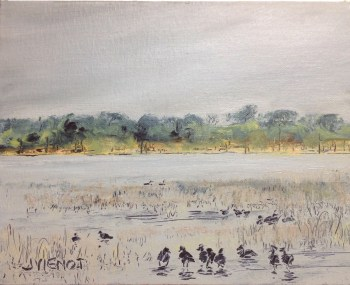 Oil painting of coots bathing and dabbling in the nearshore grasses of Lake DeFuniak on a cold winter day