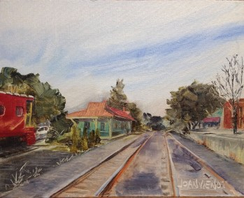 Oil painting of the DeFuniak Springs train depot and train tracks