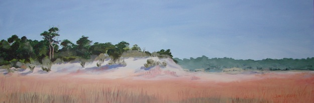 Oil painting of the dune forest and the rose-tinted grasses bordering Western Lake in Grayton Beach State Park, Florida