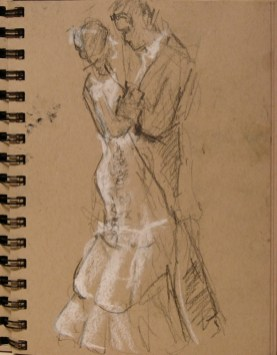 Sketch of couple dancing outdoors