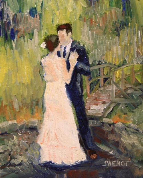 Oil Painting of Couple Dancing Outdoors by Bridge, Impressionist Style