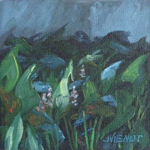 Small plein air oil painting of wetlands plants in Four Mile Creek, Freeport, FL