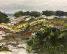 Oil painting of the autumn colors of the dune foliage at Deer Lake State Park, Florida