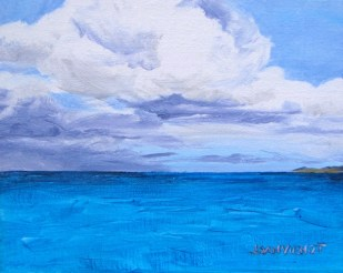 Oil painting of the color of the Seas of North Caicos Island, an impossible blue