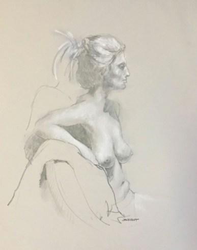 Drawing of female seated, profile head and 3/4 profile torso