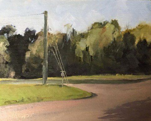 Oil painting of pond behind street intersection near Scipio Creek Marina, Apalachicola