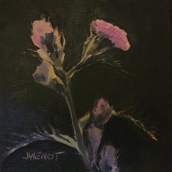 Oil painting of pink thistle in bloom