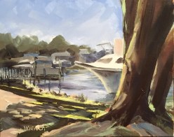 Oil painting of the big tree trunks and light patterns on the ground at Oak Marina at Niceville, Florida