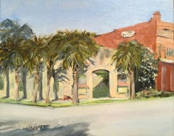 Old painting of the oldest structure in Apalachicola, FL, painted plein air