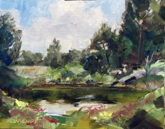 Oil painting of a pond and flora at Veteran's Park on Okaloosa Island, FL