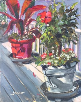Oil painting of the potted plants in the pavilion at the head of the Turkey Creek boardwalk, Niceville, FL