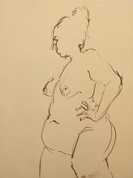 Warm-up sketch of large nude female standing, hand on hip