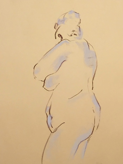 Warm-up sketch of large female nude, standing