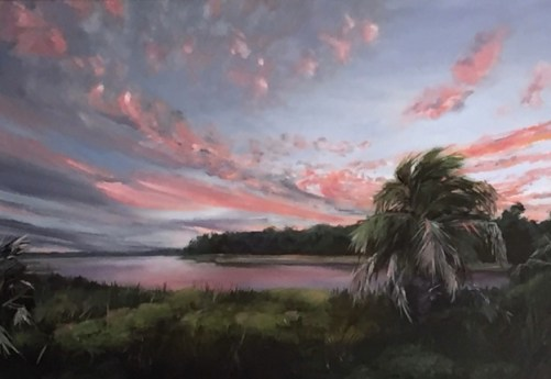 Oil painting of amazing pink clouds swirling into the sunset over a marsh scene, painted in Keith Martin Johns workshop