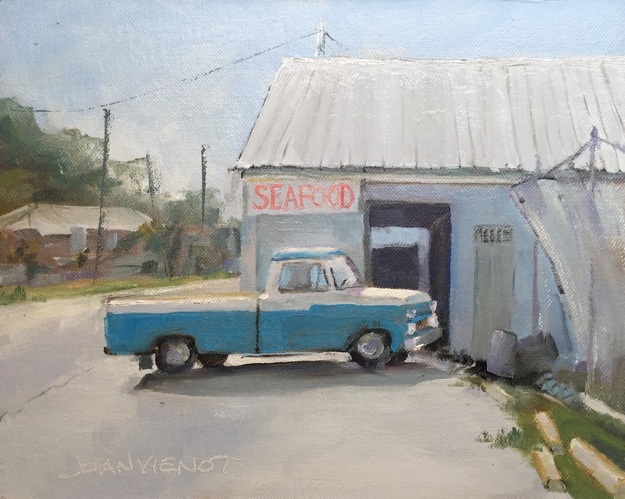 Oil painting of a blue pickup parked beside a seafood market