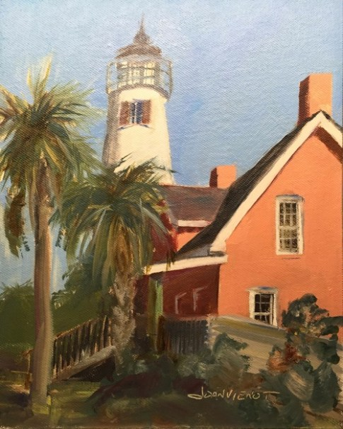 Oil painting of the St. George Island light and museum