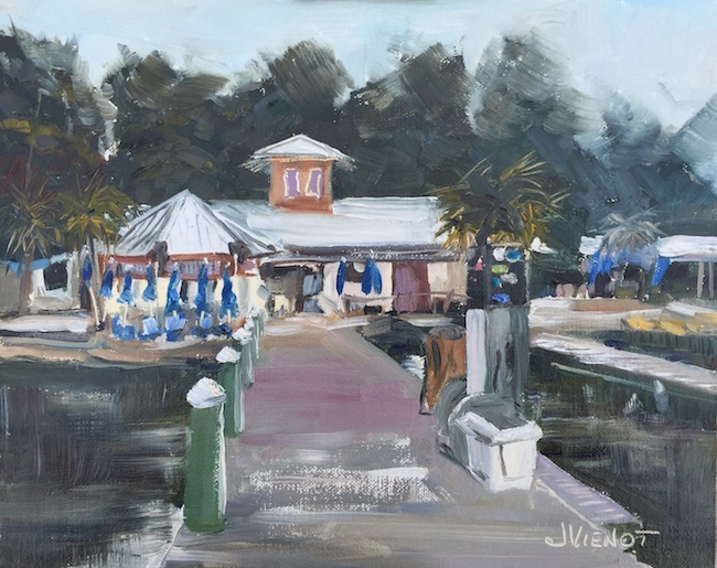 Oil painting of the Baytowne Marina Cafe in Sandestin, FL