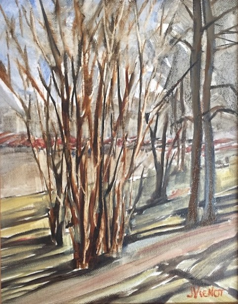 "Oil ""wash"" painting of the tree trunks and shadows on the grounds of the lake yard in DeFuniak Springs, Florida, painted en plein air during the Florida Chautauqua Assembly"